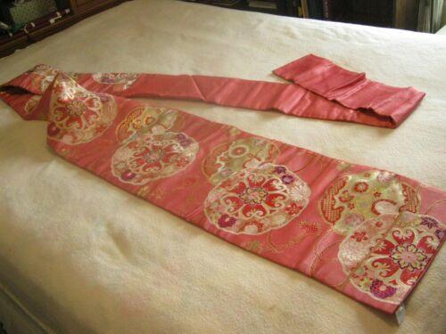 """JAPANESE PINK SILK OBI WITH SASH  Pin Red & Gold Design 128"""""""