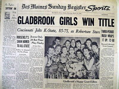 5 BEST 1959 newspapers GLADBROOK HIGH SCHOOL are IOWA GIRLS BASKETBALL
