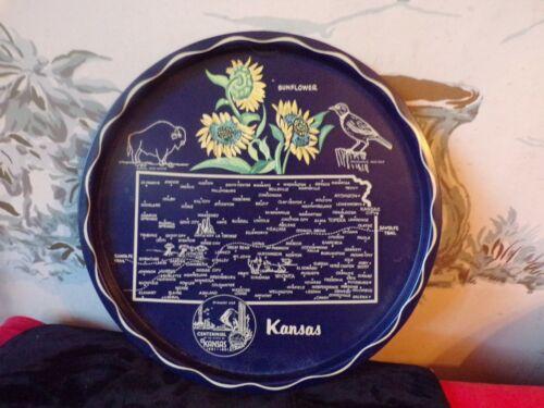 Vintage State of Kansas Souvenir Metal round serving tray