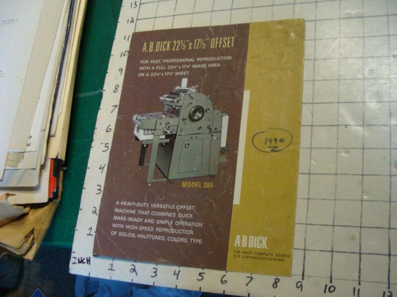 B DICK MODEL 385 OFFSET PRINTER PAPER