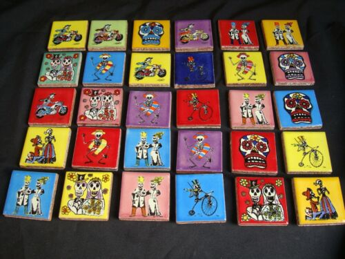 "Lot of 30 pc. Day of Dead  Mexican 2"" Tile, Dia Los Muertos, Kitchen Project"