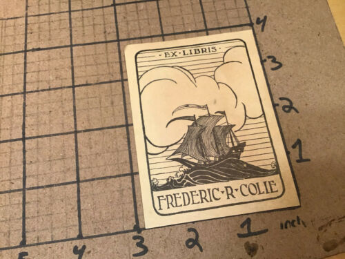 Original used Bookplate: FREDERIC R COLIE - Justice New Jersey Supreme Court 40s