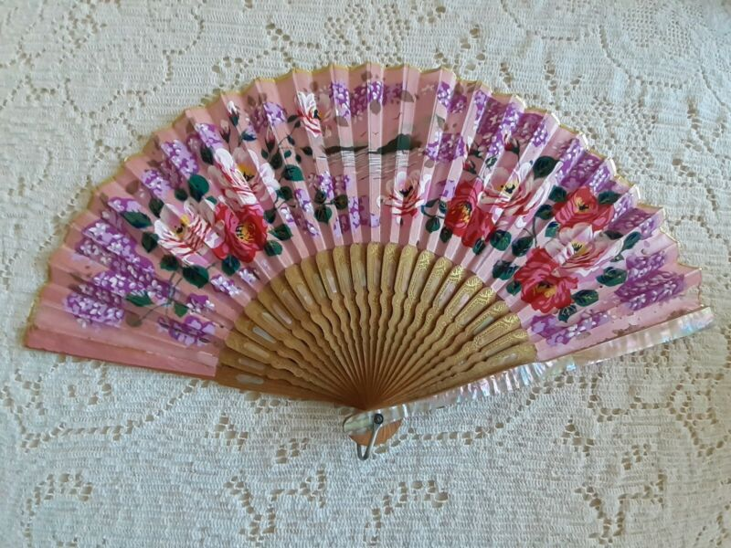 Vintage Asian Mother Of Pearl Hand Fan Bamboo Pink Gold