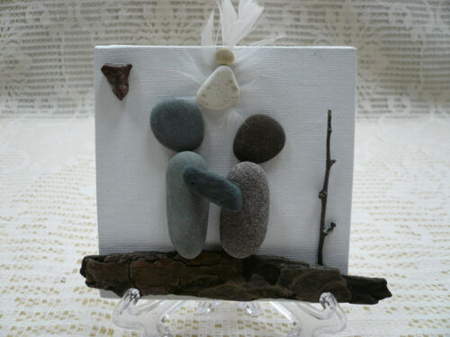Pebble Art Handmade Picture Angel Baby Memorial Remembrance Keepsake 4x4 w/Stand