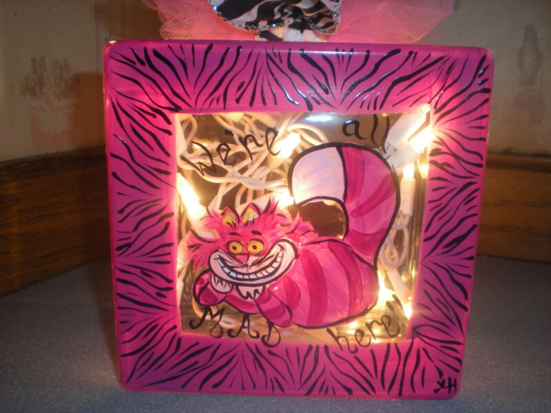 HAND PAINTED 8 X 8 LIGHTED BLOCK IN CHESHIRE CAT AND PINK ZEBRA PRINT