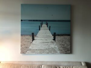 "CONDO MOVING SALE: LARGE (48"" x 48"") BEACH PAINTING/DECOR"