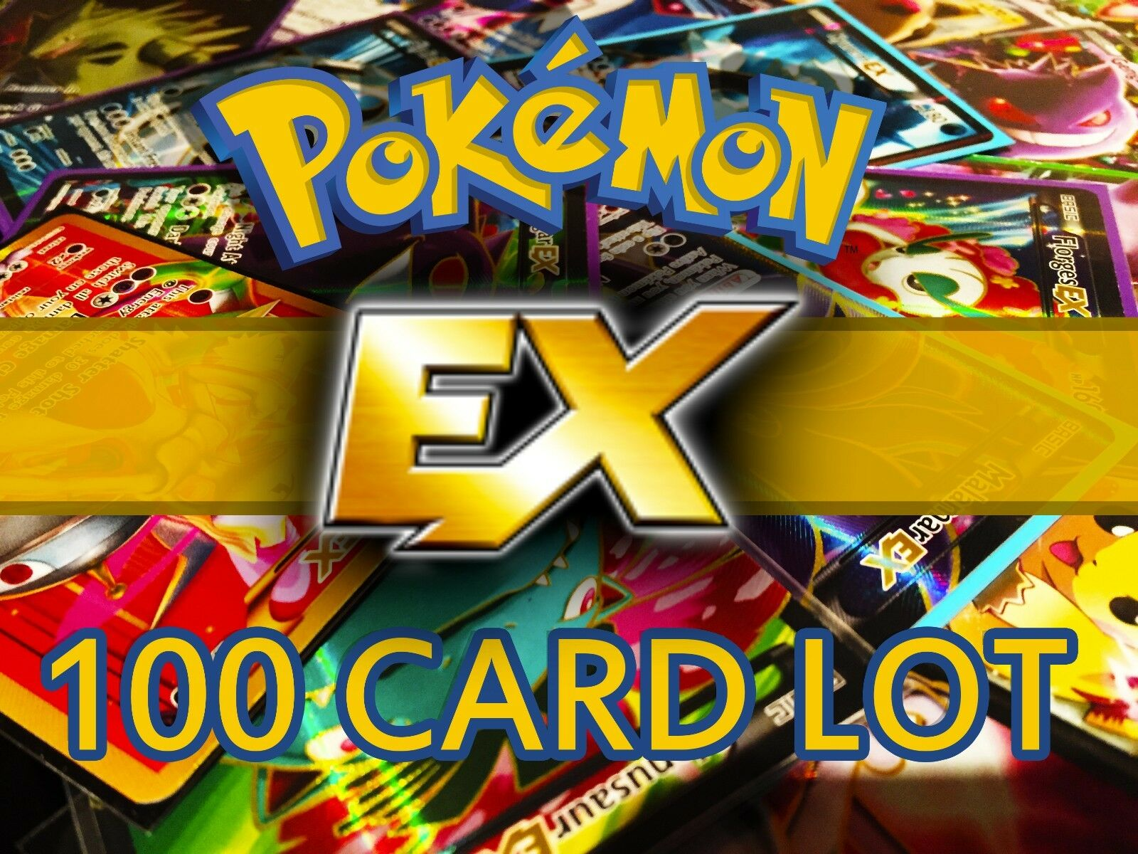 ::Pokemon TCG - 100 Cards Ex Or MEGA EX FULL ART Rare HOLO Guaranteed Holo & Rares