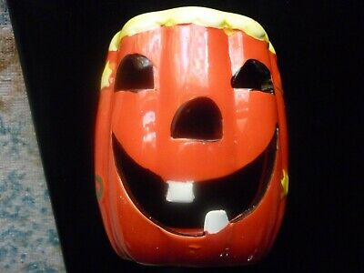 """Small Ceramic Pumpkin Candle Holder: (Height 4"""") Snowman Votive Candle Included"""