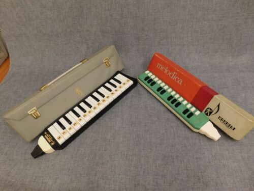 HOHNER MELODICA 25 KEY SOPRANO+PIANO 26 MOUTH ORGAN WITH CASES SET VINTAGE