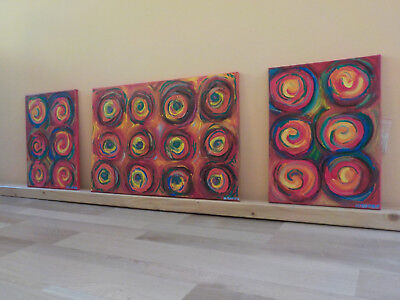 Acryl Bild handgemalt Gemälde Original 120*40  Triptychon abstrakt bunt