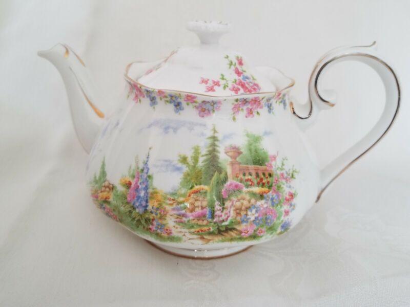 Royal Albert Bone China England Kentish Rockery Teapot Vintage