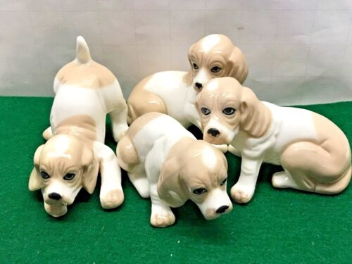Vintage LOT Porcelain china Dog Figurine Ceramic statue Puppy Family Set Beagle