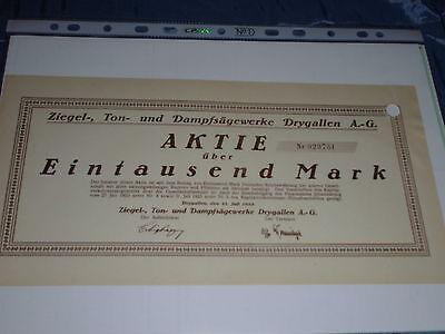 403 : histor. Wertpapier / Aktie , Ziegel-, Ton -, Dampfsägewerk Drygallen 1923