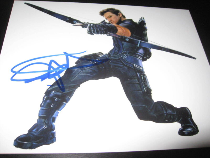JEREMY RENNER SIGNED AUTOGRAPH 8x10 PHOTO AVENGERS HAWKEYE PROMO IN PERSON COA 1