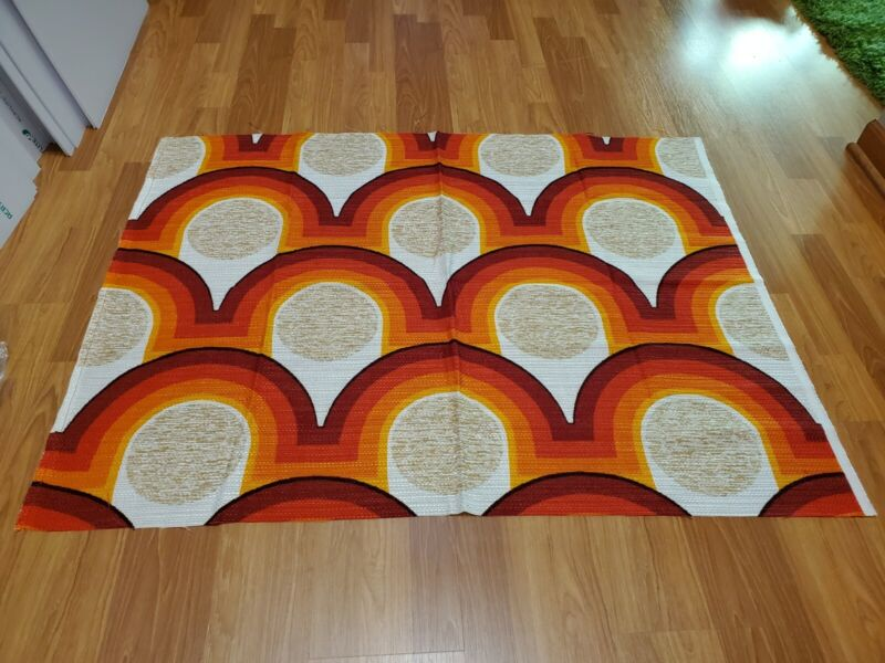 Awesome RARE Vintage Mid Century retro 70s red org rainbow circle fabric! LOOK!