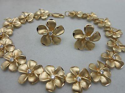 Vintage Denny Wong 14k Solid Yellow Gold Diamond Plumeria Bracelet & Earring Set