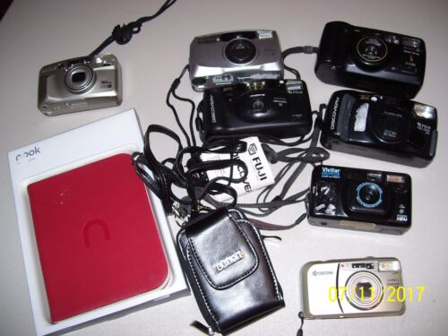 LOT OF 8 CAMERAS, VIVITAR, FUJI, PENTAX, KYOCERA, KODAK EASY SHARE DX 6340 + 2