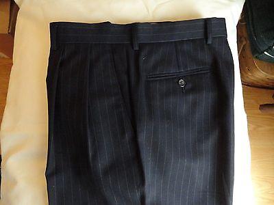 LAUREN - Ralph Lauren~Men's Blue + Stripes 100% Wool Pleated Pants 30-31 x 29.5