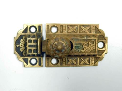 One Ornate Antique Cupboard Latch Cast Bronze, Working, Complete Dated 1871