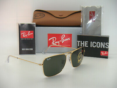 New Authentic Ray-Ban Caravan  RB 3136 001 58mm Gold Frame Classic Green (Ray-ban Rb3136 Caravan Sunglasses)
