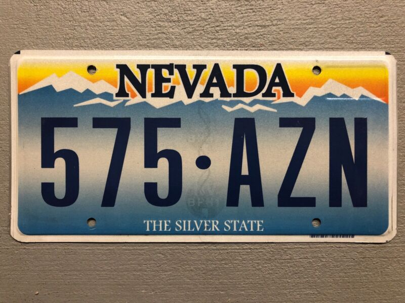 NEVADA LICENSE PLATE THE SILVER STATE RANDOM LETTERS/NUMBERS