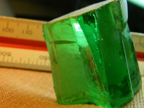 116. Gram LAB CREATED ROUGH  CUBIC ZIRCONIA EMERALD GREEN