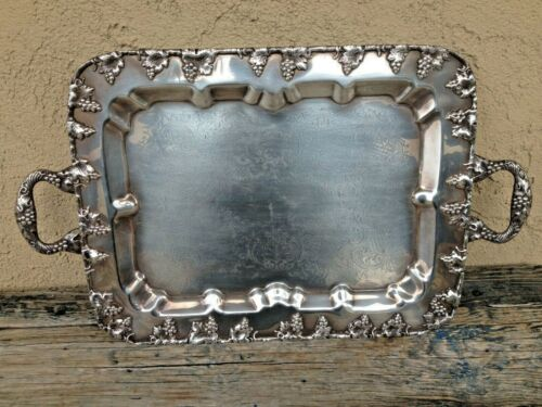 FINE 1930's LEHMAN BROS LION VINTAGE SILVER ON COPPER SERVING TRAY, GRAPEVINE