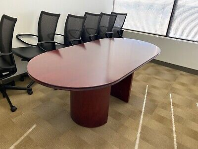 Oval Shape Conference Table By Paoli Office Furniture 6ft L In Mahogany Wood