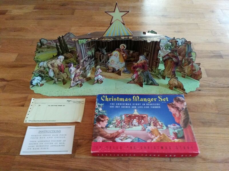 COMPLETE 1950's Christmas Manger Set No. 743 - Paper Cardboard Cut-Out Nativity