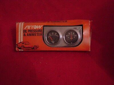 Nos Vintage Arrow Gauge Set Ammeter   Oil Pressure Street Rat Rod Day Two New