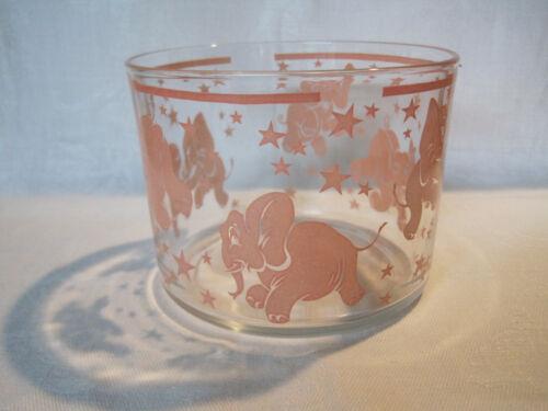 Vintage Hazel Atlas Pink Elephants glass ice bucket bar ware
