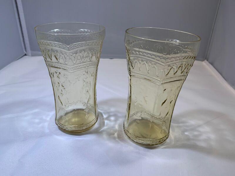 "Depression Glass Patrician ""Spoke"" 14 Oz. Tumblers (2 in Amber)"