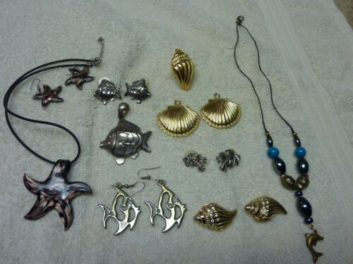 Mixed Lot Costume Jewelry Beach Theme Earrings Necklaces Fish Shell Dolphin