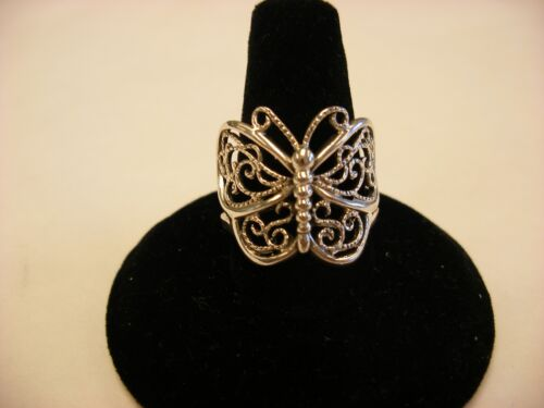 Vintage Retro Sterling Silver Butterfly Ring Marked 925 Size 8