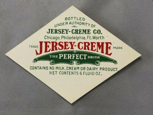 1930s JERSEY-CREME SODA Bottle LABEL Vintage Original Advertising