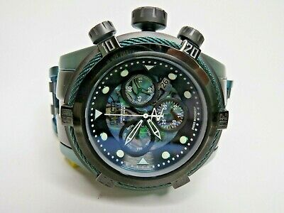 Invicta Reserve Bolt Zeus Chronograph Watch Abalone Dial 53mm Green Black