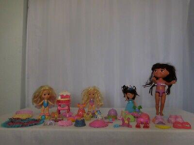 Snap n' Style Blonde Dolls + Highchair + Clothes + Dora Dolls + Accessories