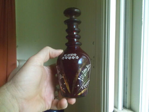 ANTIQUE 1880s RUBY RED FLASHED COLOGNE BOTTLE PONTILED 3 APPLIED RINGS STOPPER