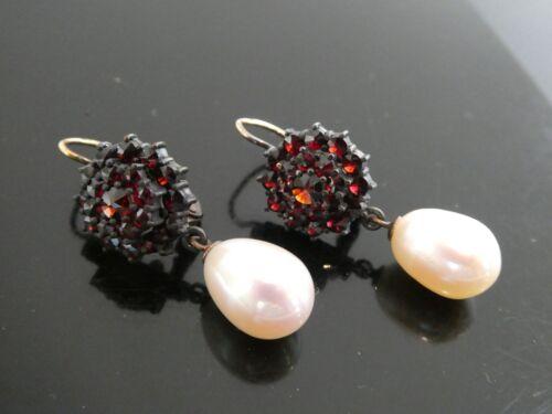 Victorian Bohemian Garnet & Pearl 14KT YG & Sterling 925 Leverback Earrings