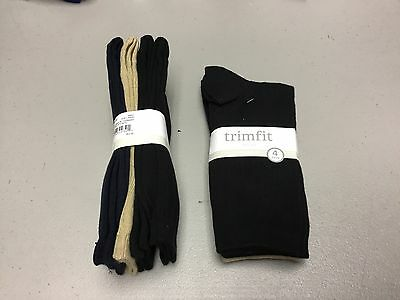 NWT Women's Trimfit Crew Socks 8 Pair Size Large Shoe 4-10 Navy Tan Black #593P - Crew Trim Fit Crew Socken