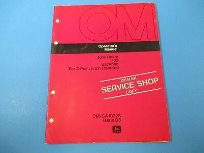 John Deere Operators Manual Om-ga10328 165 Backhoe 3 Point Hitch Tractors M5007