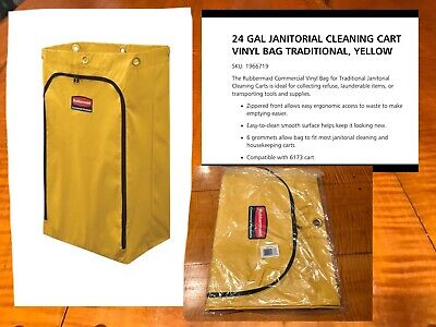 Rubbermaid 1966719 Zippered Vinyl Cleaning Cart Bag Yellow 24 Gallon 6173 6183