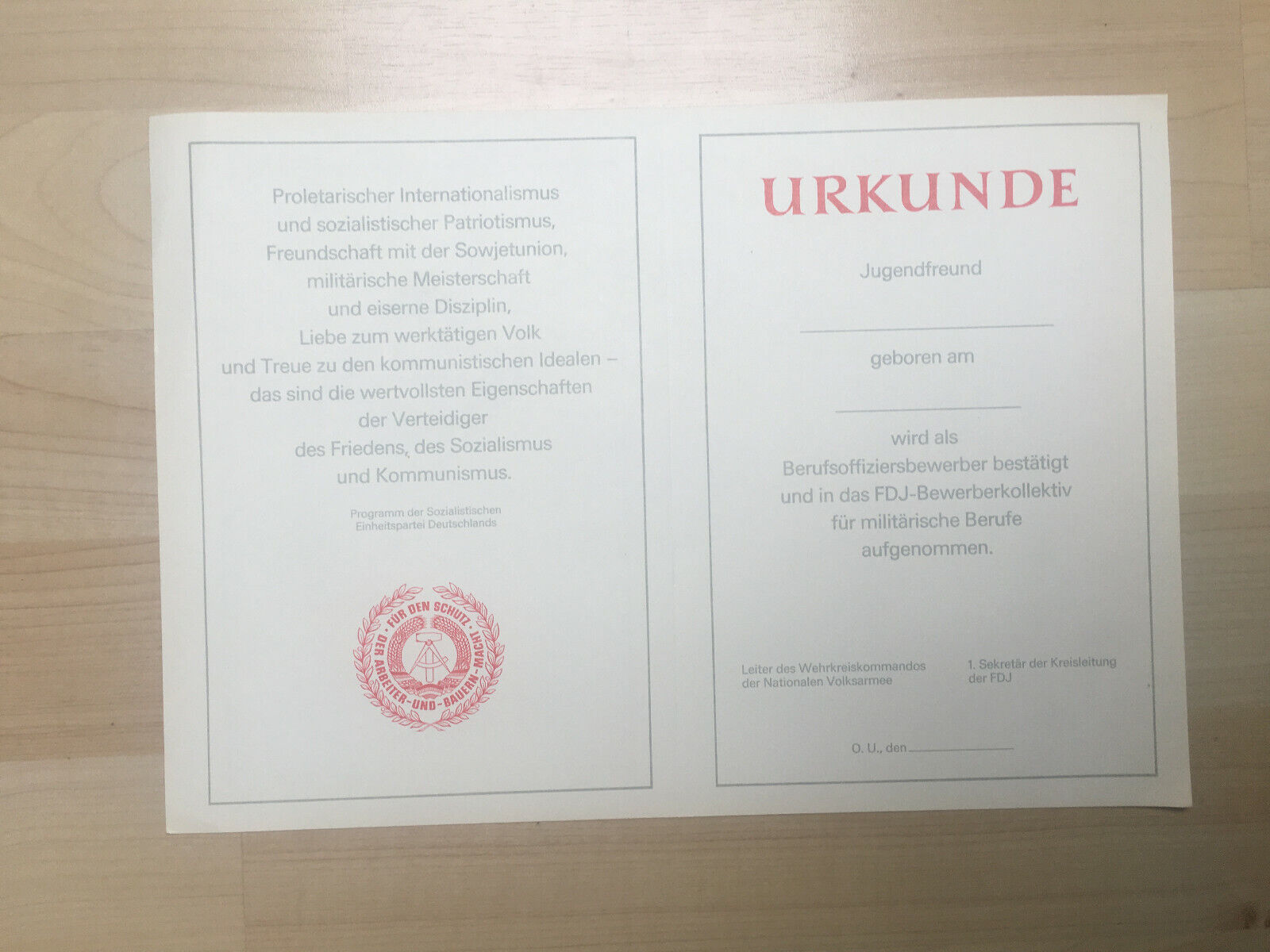 Urkunden DDR original blanko  FDJ Pioniere Militär NVA Nostalgie
