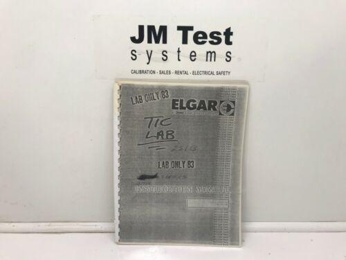 Elgar Model 251B & 501B Power Source Instruction Manual BR