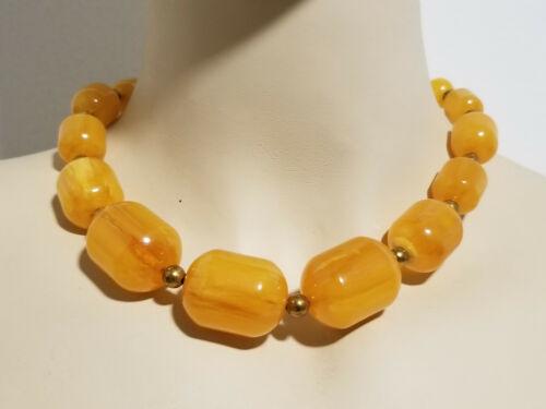 Vintage Rare Egg Yolk Amber Barrel Graduated Bead Bakelite Necklace / 78 Grams
