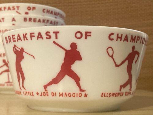 Vintage 1937 Wheaties Breakfast of Champions Milk Glass Premium Cereal Bowl