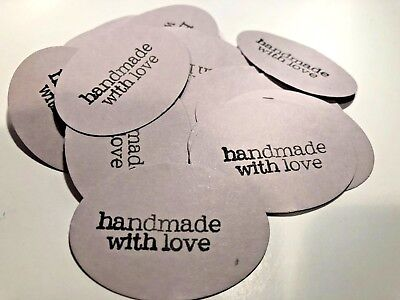 Amazing 2 inches wide handmade with love tags - set of 60 pieces