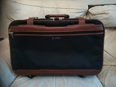 Samsonite Small Suitcase Luggage Black with Brown Leatherette 56x34x16cm