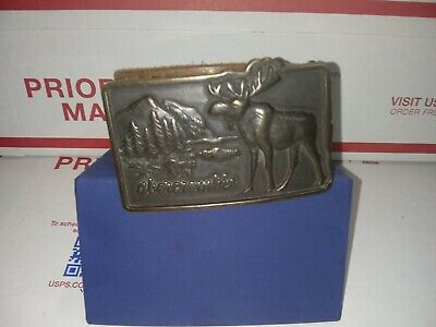 Vintage Abercrombie & Fitch Est 1892 Moose Brass Belt Buckle. And belt Rare