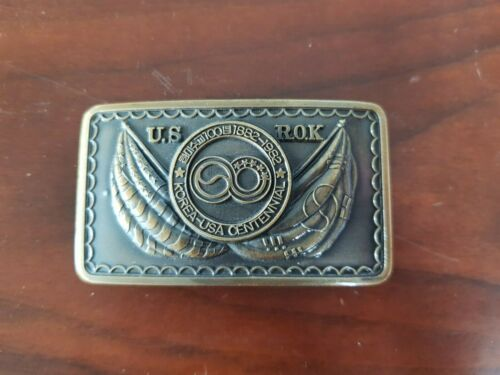 RARE 1982 Vintage Korea USA Centennial Buckle Military Army War Accessory belt